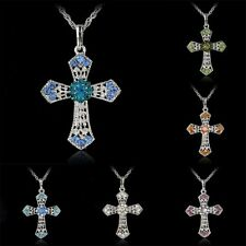 Women Silver Cross Inlay Rhinestone Crystal Pendant Necklace Long Sweater Chain