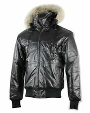 Mens Real Leather Black Puffer Bomber Jacket Detachable Hood Fur Collar S - 3XL