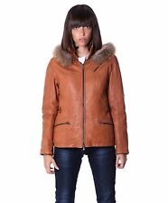 627 • tan color • nappa lamb leather hooded fox jacket smooth effect
