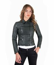 NADIA • green color • lamb leather quilted jacket soft bogotà vintage effect