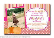 Pink Little Pumpkin 1st 2nd 3rd 4th 5th Birthday Party Invitations - Any Color