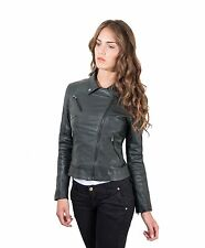 KBC • green color • lamb leather perfecto jacket vintage effect