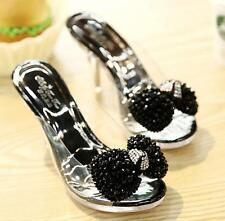 Rhinestones Clear Upper Slide Mules Stiletto Sandals Heels Party Bridal Shoes