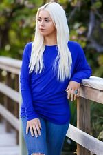 Off-The-Shoulder Long Sleeve Dolman Top (Royal Blue)