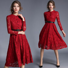 European Fashion Womens OL Long Sleeve Red Lace Crochet Hollow Out Midi Dress
