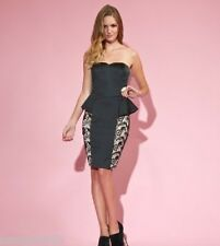 New Lipsy Black & Nude Satin & Waxed Lace Peplum Dress Sz UK 8
