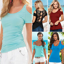 Women Ladies Summer Short Sleeve T-Shirt Blouse Casual Cut Out Shoulder Tops Tee