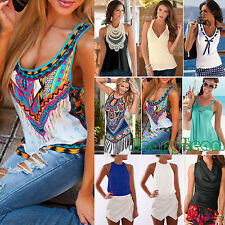 Womens Summer Sleeveless Blouse Ladies Tank Tops Casual T-Shirt Vest Beach Tops