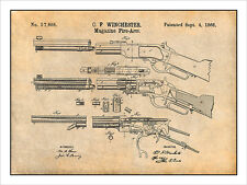 1866 Winchester Lever Action Rifle Patent Print Art Drawing Poster