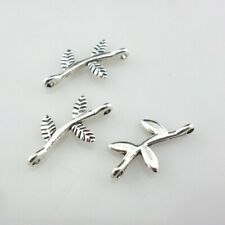 120/1000pcs Tibetan Silver 2 Hole Branches Leaves Connectors 9x17mm