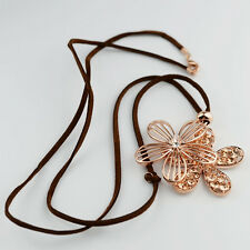 18K Rose Gold Plated Rhinestone Flower Pendant Long Sweater Fashion Necklace
