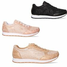 Womens Ladies Lace Embroidered Trainers Shoes Lace Up Trainer Size