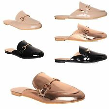 Womens Ladies Slip On Front Buckle Slippers Flats Slide On Loafers Shoes Size