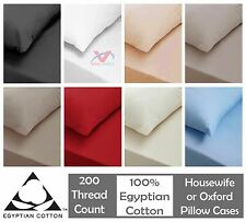 2 X PILLOW CASES LUXURY 100% EGYPTIAN COTTON 200TC HOUSEWIFE And OXFORD STYLE
