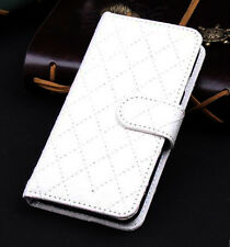 White Wallet Case Grid Folio Soft Sheepskin PU Leather Case For S6 EDGE{OH-203