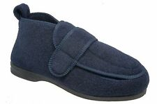 Mens Orthopaedic EEE Boot Slippers / Blue Wide Fit Touching Fastening Coolers