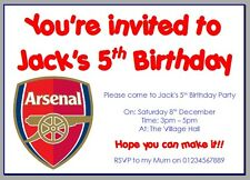 personalised photo paper card party invites FOOTBALL ARSENAL GUNNERS