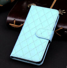 Blue Wallet Case Grid Folio Soft Sheepskin PU Leather Case For S6{OI-272