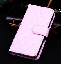 Pink Wallet Case Grid Folio Soft Sheepskin PU Leather Case For S6{OI-209
