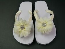 Wedding, Beach, Bridal, Hand Decorated Flip Flops, Chiffon Flower, Embellishment