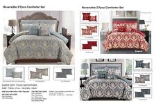 Reversible 3pc Comforter Set Microfiber Quilted Bed Cover burgundy & grey shades
