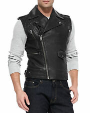 Men's Genuine Lambskin Leather Motorcycle Vest Slim fit Sleeveless Biker Jacket