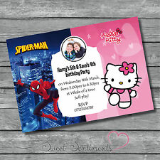 Spiderman & Hello Kitty Personalised Birthday Party Invitations joint/single x10