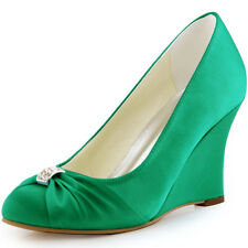 EP2005 Green Closed Toe Knot Wedges High Heel Pumps Satin Wedding Party Shoes