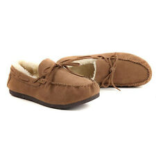 NEW Mens Gents Real Genuine Leather Suede Moccasin Warm Fleece Lined Slippers