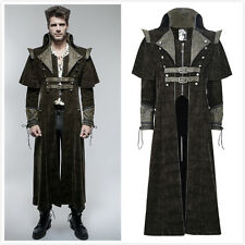 Punk Rave Y-654 Mens Steampunk Gothic Military Brown Long Jacket Coat With Cape