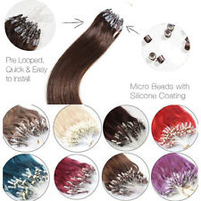 "100s 16-26""Easy Loop Micro Rings Ombre Hair Remy Human Hair Extensions Straight"