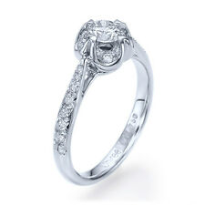 0.48ct D-SI1 Enhanced Diamond Antique Engagement Ring 14K White Gold SIZE 5.25