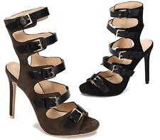 WOMENS HIGH HEEL PEEP TOE SANDAL PARTY CASUAL LADIES STRAPPY BUCKLE SHOES 3-8