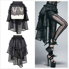 Devil Fashion SKT016 Black Gothic Lace and Gauze High-Low Swallowtail Skirt