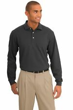 Port Authority Men's Moisture Management Pique Moisture Long Sleeve Polo Shirt