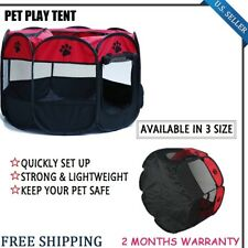 RED BLACK Dog Kennel Pet Fence Puppy Soft Playpen Exercise Pen Folding Crate