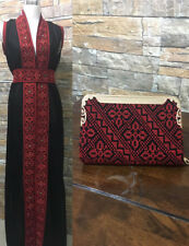 Abaya Thob Embroidered Palestinian Traditional Arabic Dress With Embroidere Bag