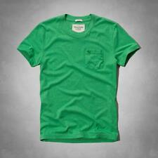 Abercrombie & Fitch Pocket Crew Tee Mens Solid Green Muscle Fit Shirt New NWT