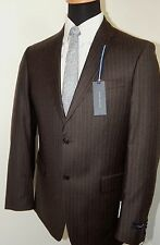 Tommy Hilfiger 100% Wool Brown Pinstripe Mens Suit Trim Fit, VARIOUS SIZES