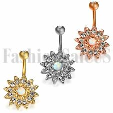 Belly button Ring Zircon Flower Body Piercing Navel Jewelry Surgical Steel Stud