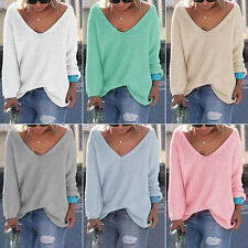 Women V Neck Long Sleeve Loose Knitted Jumper Tops Casual Sweater Shirt Knitwear