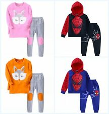 Kids Boys Spider Man Hoodies Girls Cotton Long Sleeved Sweater Tops 2Pcs Outfits