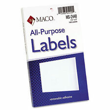 3 Maco Multi-Purpose Self-Adhesive Removable Labels, 1 1/2 x 3, White,160/3 Pack