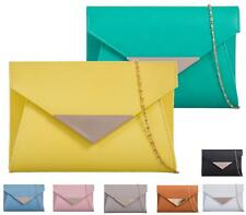 NEW LADIES CLUTCH EVENING FAUX LEATHER WEDDING ENVELOPE PROM PARTY BAG