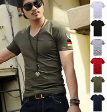 Hot Men's Armband V Neck Short Sleeve T-Shirt Slim Fit Casual Basic Tee Shirts