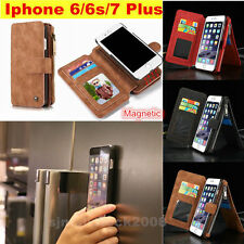 Magnetic Luxury Genuine Leather Flip Wallet Phone Case Cover fo iPhone 6 7 Plus