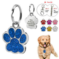 Glitter Paw Custom Pet Dog Tags Engraved Puppy Poodle Cat Kitty ID Tag Chihuahua