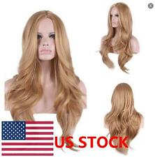 Women Light Brown Long Wavy Wig Cosplay Party Full Wig Synthetic Curly Hair