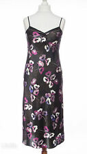 Ex-M&S Long Black Purple Floral Satin Chemise Nightie Size 8 10 NEW