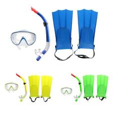 Swimming Snorkeling Diving Mask Fins DRY Snorkel Set, Blue/Yellow/Green, New